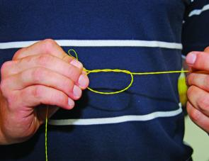 The surgeon's loop is an ideal knot for tying in each twisted section as it is completed.