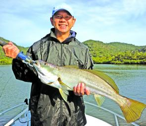 Liong was stoked with this 76cm schoolie caught on a live bait at Spencer.