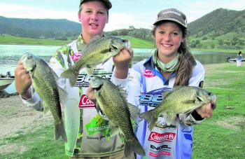 Cole and Jade Hutchinson got into some good bass at Glenbawn recently.