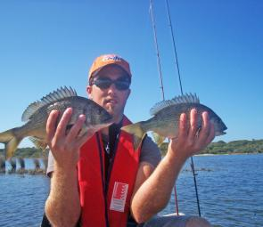Brendan Fielden with a double hook-up of bream taken sight casting hardbodied lures at Lake Tyers