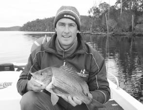 Chris Wright with a nice bream from Mallacoota. Both bait and lures are successful here.