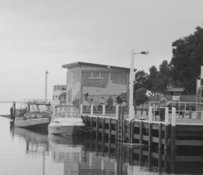 The Mallacoota Wharf makes a convenient place to tie up boats.