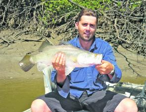 Salty barra like this Constant Creek specimen caught by Mick Stone are everywhere around Mackay.