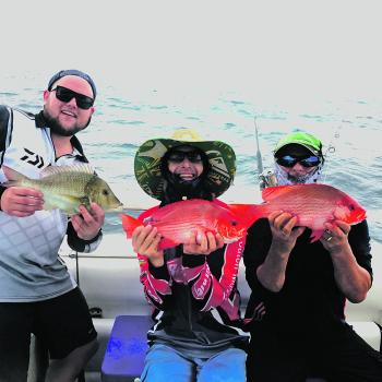 It may have been a rough day on the water, but the guys on Christies Charters had a blast fishing some shallow reef near Outer Rock.