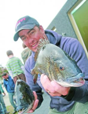 Chris 'Slick' Wright with one of many bream he caught. Chris rewrote the five-fish limit record with his 7.055kg bag.