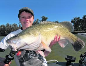Jock Mackenzie with an average-sized cod taken locally in the Murray River on a Cod Dog lure.