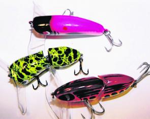 Some of the big surface lures that have proven to be effective on big Murray cod at night.