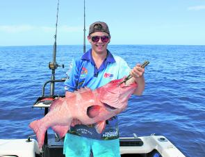 Ryan Tivey from Cairns caught and released this estimated 14kg blue-spot coral trout at Linden Bank.