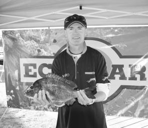 Rick Massie with the 1.54kg bream that had his team in front for the Eco-gear Big Bream on Saturday.