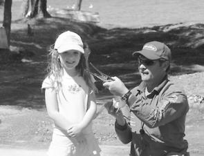 Five-year-old Paris Munro caught and released this long tom of around a metre in lake Macquarie at a fishing clinic.