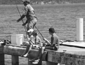 There are plenty of wharfs to fish from in Lake Macquarie – just the ticket for budding young anglers.