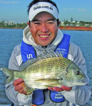 Grayson Fong Shows the quality of bream that are around at the moment. Another MegaBass DogX Jr munching bream.