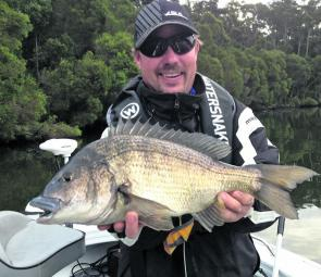 Shoalhaven local Jarrod Humphrey with cracking 50cm black bream from the SSBS round at Mallacoota.