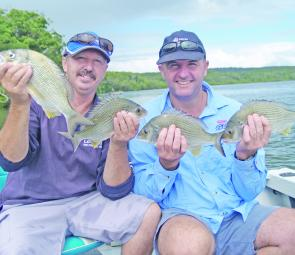 Bream certainly seem to be in good numbers in the reopened Richmond River, as Darrell Schultz and Shane Clark can attest.