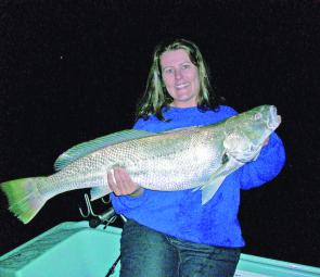 Sheree with her well deserved Western Port mulloway (photo courtesy of Sheree).