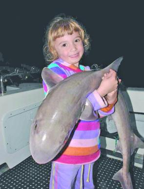 Billie Wing-Smith (4yo) with her monster 9kg gummy shark (photo courtesy of Brendan Wing).