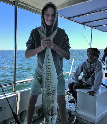 Aiden with a decent Spanish mackerel.