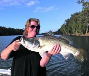 Kerrie Lauga with a great barra caught and released in the fresh reaches of the Fitzroy River.