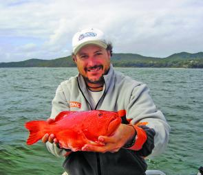 Cooroy angler Rob James with a quality Sunshine Reef coral trout.