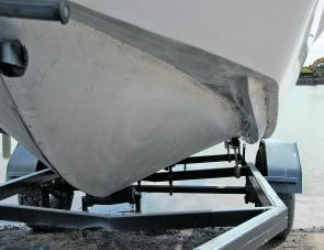 The Mojo's under hull features of fine bow plus rail like reversed outer chines are easily noted in this image.