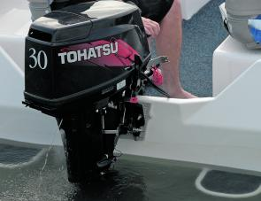 Recommended power, the 30hp Tothatsu 2-stroke easily pushed the solid plate craft to over 40km/h with two aboard.