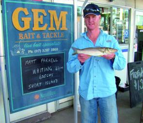 Matt Farrell with an elbow slapper of a whiting which measured 42cm.