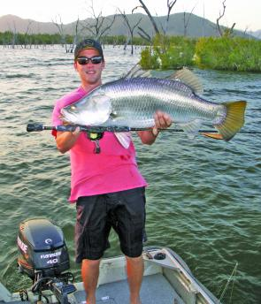 A barramundi from Peter Faust Dam caught in the afternoon using a floating Rapala X-Rap.