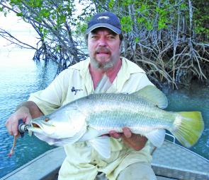 Robbie Gilbin caught a 72cm+ barramundi while fishing the headland 30nm north of Cooktown.