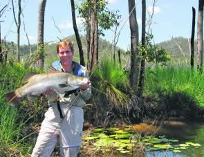 Some impoundments are turning up smaller fish these days but I still advocate ten weight fly tackle.. One never knows!