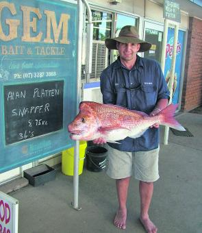 Alan Platten caught this great 9kg snapper from the 36s.