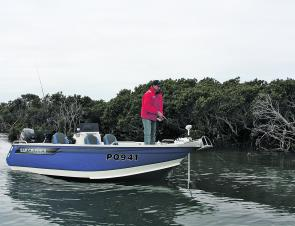 Chasing fish off the bow – what all open centre console boats should be good at. The 535 XS was at home in the mangroves as it was in the rough stuff. A big tick here for adaptability in the uses of this boat.