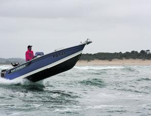Even though this 5.35m boat had a 70hp 4-stroke on the stern, the ability to quickly get the nose up and onto the plane was terrific and very important to safely crossing a bar or dealing with rough water.