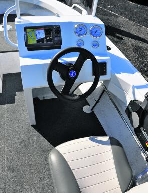 The side console is simple and effective. We recommend a real sounder rather than the stick-on model tested.