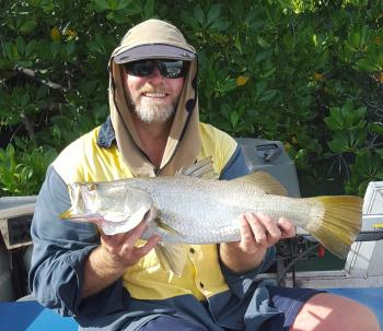 The author with one of a few barra caught off a single snag.