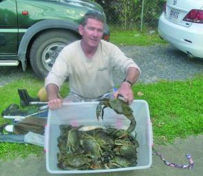 Eric O'Sullivan is more than happy with his haul of 15 big legal bucks taken in the cold weather. Like barra, crabs become a little lethargic in winter, but can still be caught.