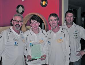 The heavy Tackle Challenge winning team from Kikino – Steve Marshall, Ryan Marshall and Shane Panton, with Solitary Islands Game Fishing Club president James McGinty.