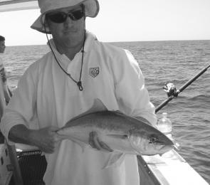 Adam struggling to keep a grip on his Barwon Banks yellowtail kingfish.