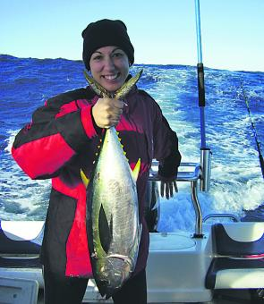 Caroline Scerri with her first yellowfin tuna, taken from a 6m trailer boat just 10nm off Bermagui.