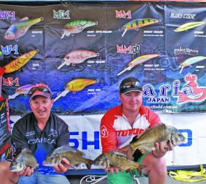 Team Major Craft - Cranka display some of the fish from their 4.69kg Maria Lures Best Bag.