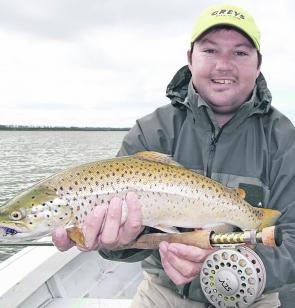 Lubin Pfieffer with a terrific Lake Tooliorook brown trout taken while flyfishing. Photo courtesy Luke Barby