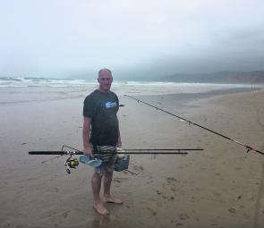 Some surf fishos just don't feel the cold! A diehard surf angler at Moggs Creek Beach.