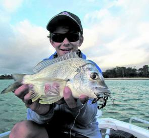 The author with a decent bream pulled out of a deeper channel on a Berkley Gulp 2.5