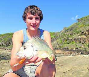Jesse with a big winter bream using a Berkley 3B Crank down deep around the headland rocks.