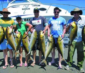 These happy anglers had a ball chasing amberjacks onboard Outlaw Charters.