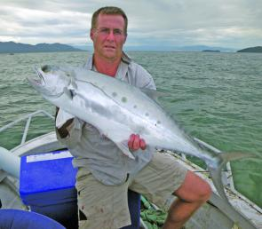 Terry McClelland, from Mareeba, with a good example of the silver acrobats that should start to show up in the river mouths this month, if the streams are clear.