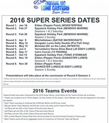 Super Series Tournament dates 2016.