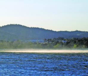 Spring can produce pretty volatile weather on Lake Jindabyne. This gust turned into a waterspout a few minutes later.