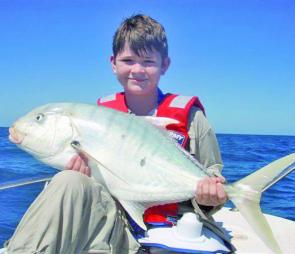 Ben Kane, 12 years old, with a magnificent cold water Golden Trevally.