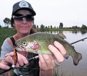 Casey Fields is a great place to practice flyfishing and catch a couple of fish.