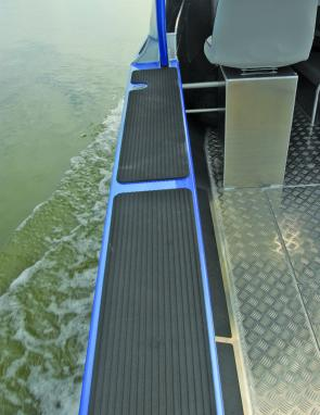 Rubberised deck tops make a lot of sense in a serious fishing boat.